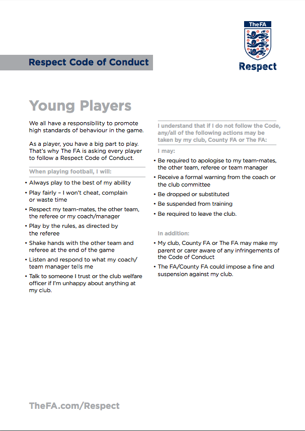 Young Players Code Of Conduct