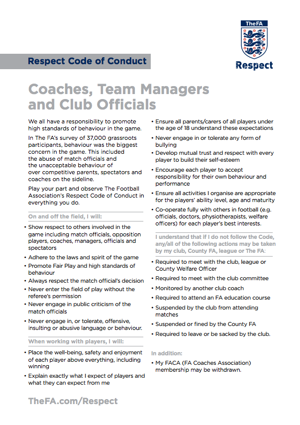 Coaches & Officials Codes Of Conduct
